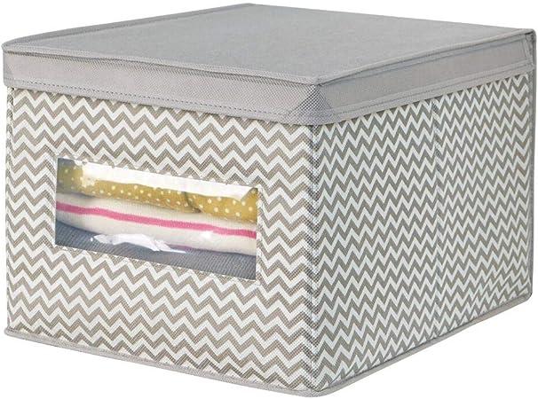 mDesign Caja organizadora de tela grande – Caja para guardar ropa, zapatos, bolsos, etc.– Caja de tela con tapa para ordenar armarios – gris topo/crema: Amazon.es: Hogar