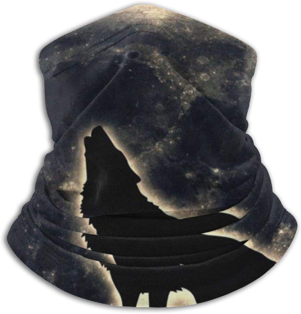 Zcfhike Howling Wolf Moon Night UV Face Mask Soft Windproof Keep Warm Moisture Wicking Winter Microfiber Neck Warmer 30/×25cm Black