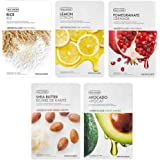 The Face Shop Unisex Brightening Masksheet Combo (Pack of 5) 100gm (20gm each)