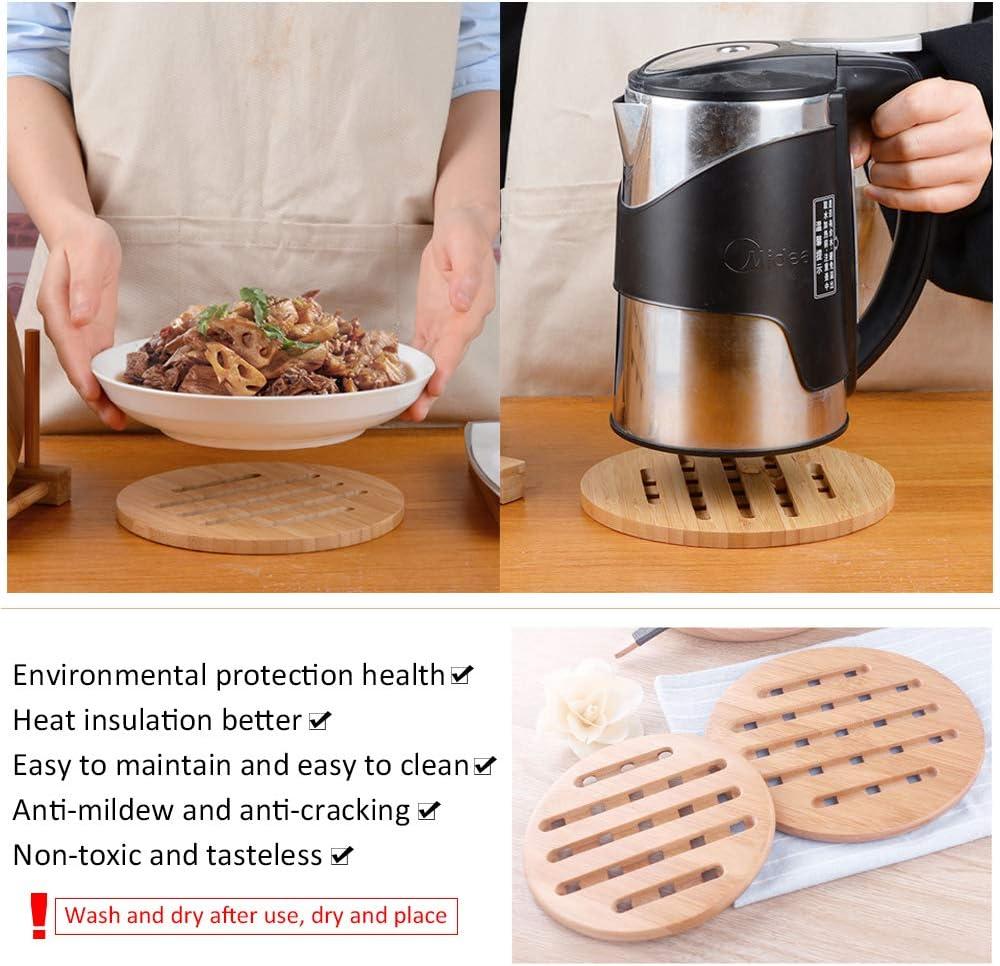 18x18x1CM Round Heat Proof Mat Worktop Protection Home Kitchen Hot Pads Trivet YOFASEN Bamboo Trivet for Hot Pans