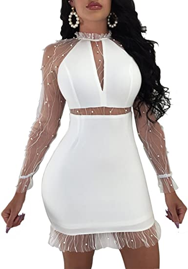 Sequins Lace See Through Evening Party Dress Hollow Out Mesh Bodycon Long Sleeve
