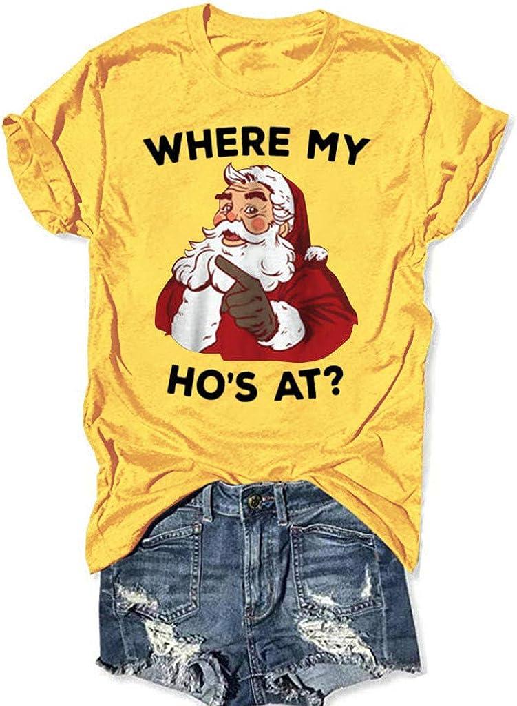 Eoeth Women Christmas Santa Letter Print Short Sleeve O-Neck T-Shirt Tunic Blouse Tops Shirts Pullover Tracksuits
