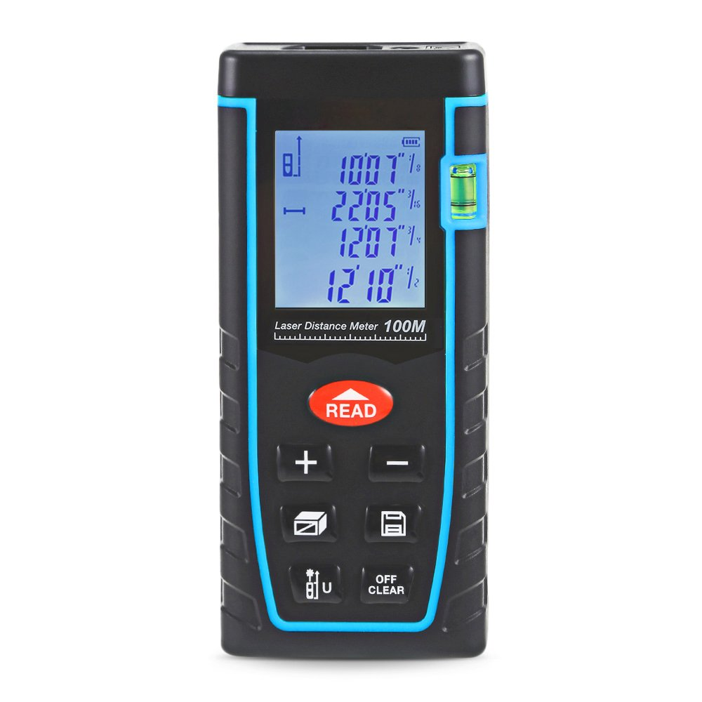 GNGS Laser Distance Meter 100M/328ft, Portable Multiple Modes Measure Tool | Mute Function | Distance, Area, Volume, Pythagorean and Calculation with Level Bubble