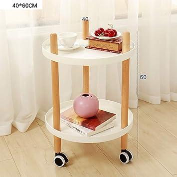 XIAOYAN Mesa De Cafe Mesa de centro con ruedas Dormitorio Sala de estar Mesa auxiliar Carrito de cocina ...