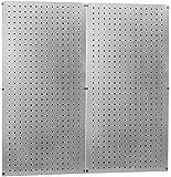 Heavy Duty Pegboard Round Hole Only Galvanized Steel Metal Peg Board Set - 32in x 32in Total Peg-Board Coverage