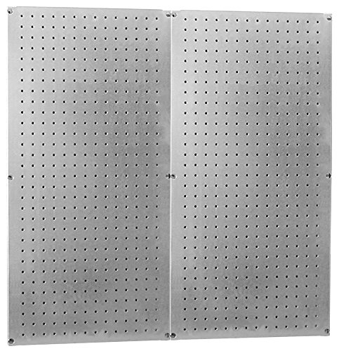 Heavy Duty Pegboard Round Hole Only Galvanized Steel Metal Peg Board Set - 32in x 32in Total Peg-Board Coverage ()