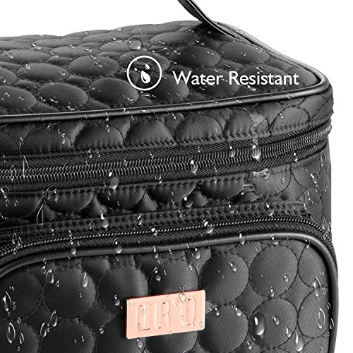 DRQ Travel Makeup Bag with Mirror-Multifunction Portable Toiletry Bag Large Cosmetic Make up Pouch Organizer for Women Cosmetic Duffle Weekender