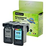 GREENCYCLE Remanufactured PG-240 Black / CL-241 Tri-color Ink Cartridges Compatible with PG-240XL CL-241XL PIXMA MX372 MX392 MG2120 MG3220 (1 pack black and 1 pack Color )