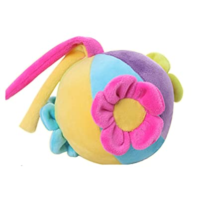 OLizee 4.3 inch Soft Comfortable Baby Kid Infant Children Colorful Sensory Crawling Hand Grasp Multicolour Color Toys Cloth Rainbow Sound Ball Bell Learning Educational Toy(Flower) : Baby
