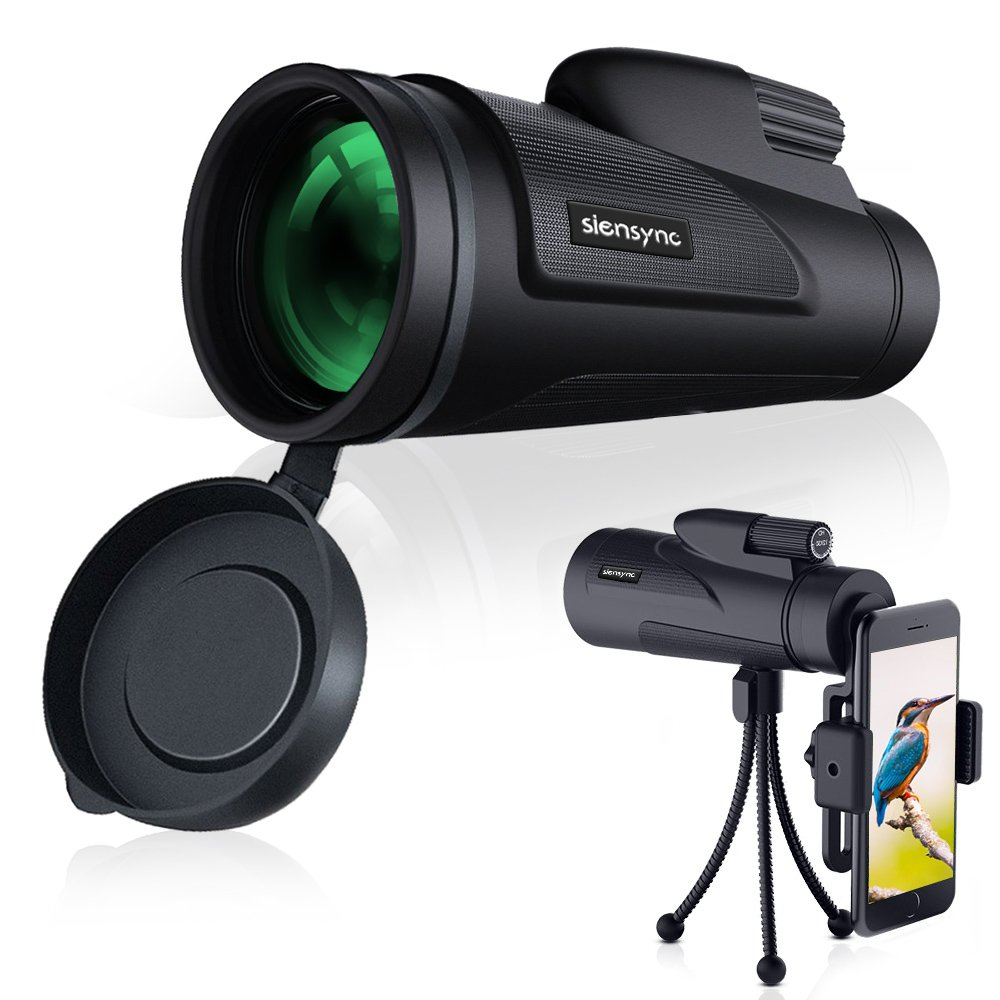 Monocular Telescope - Siensync 12X50 High Power Waterproof Monocular Scope with Tripod Smartphone Holder, BAK4 Prism Scope for Wildlife Scenery, Bird Watching, Horse Racing, Hunting and Camping by Siensync