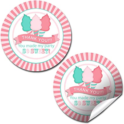 Round Labels Personalized Customized Birthday Party Favor Stickers Pink Cotton Candy Choose Your Size