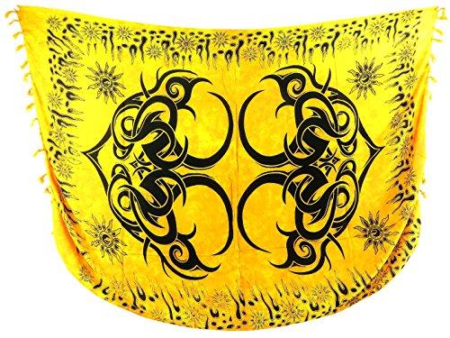 (hiphop clothing wholesale large tattoo tribal sarong yellow rayon Bali handmade)