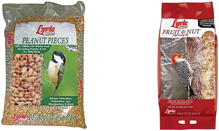 Lyric 2647463 Peanut Pieces Wild Bird Food, 15 lb & 2647417 Fruit & Nut High Energy Wild Bird Food, 20 lb