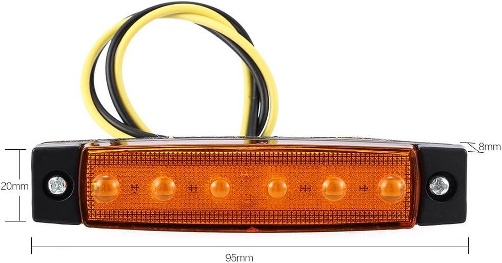 zimo 4X 6 LED Bus Van Truck Trailer Side Marker Indicators Lights Lamp Yellow 12v