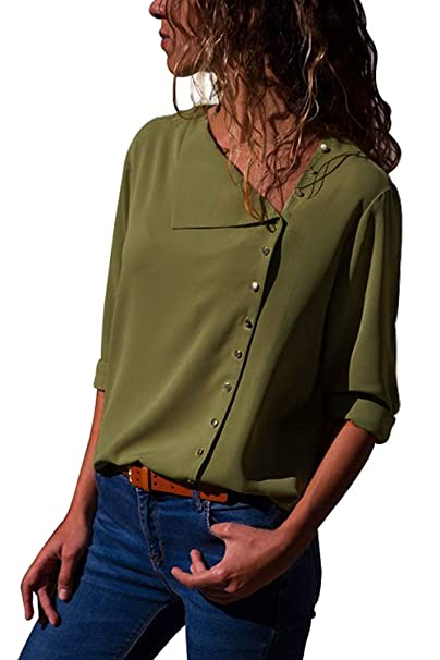 c6196ce7d81d9 PARIS HILL Women s Button Detail Blouse Roll Sleeve Chiffon Solid Tops  Green Small