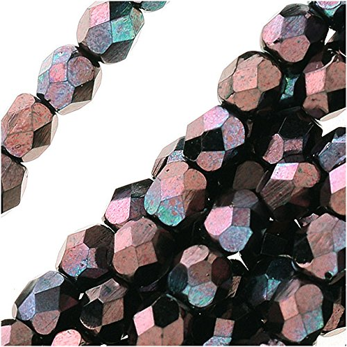 (Jablonex Czech Fire Polished Glass Beads 4mm Round 'Metallic Amethyst Luster' (50))