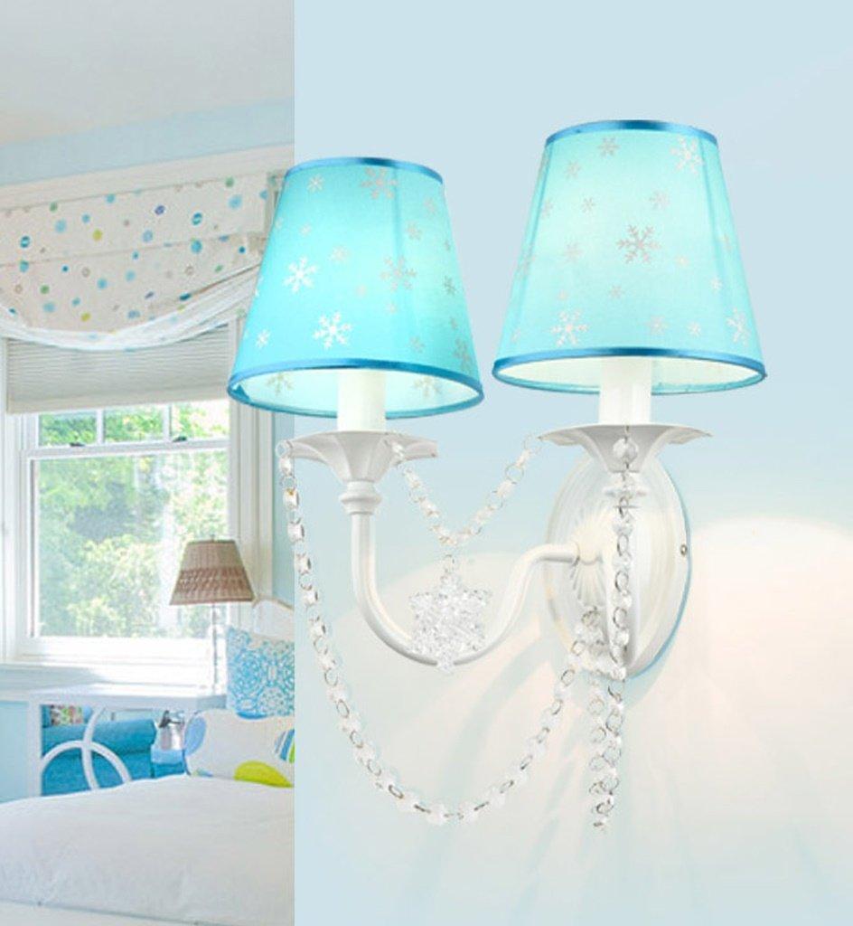 The harvest season- Blaue Schneeflocken Prinzessin Zimmer Kristall Wand Lampe Kinderzimmer Esszimmer Schlafzimmer Korridor Doppel Kopf Nachttisch Lampe -E14 * 2 (blau)