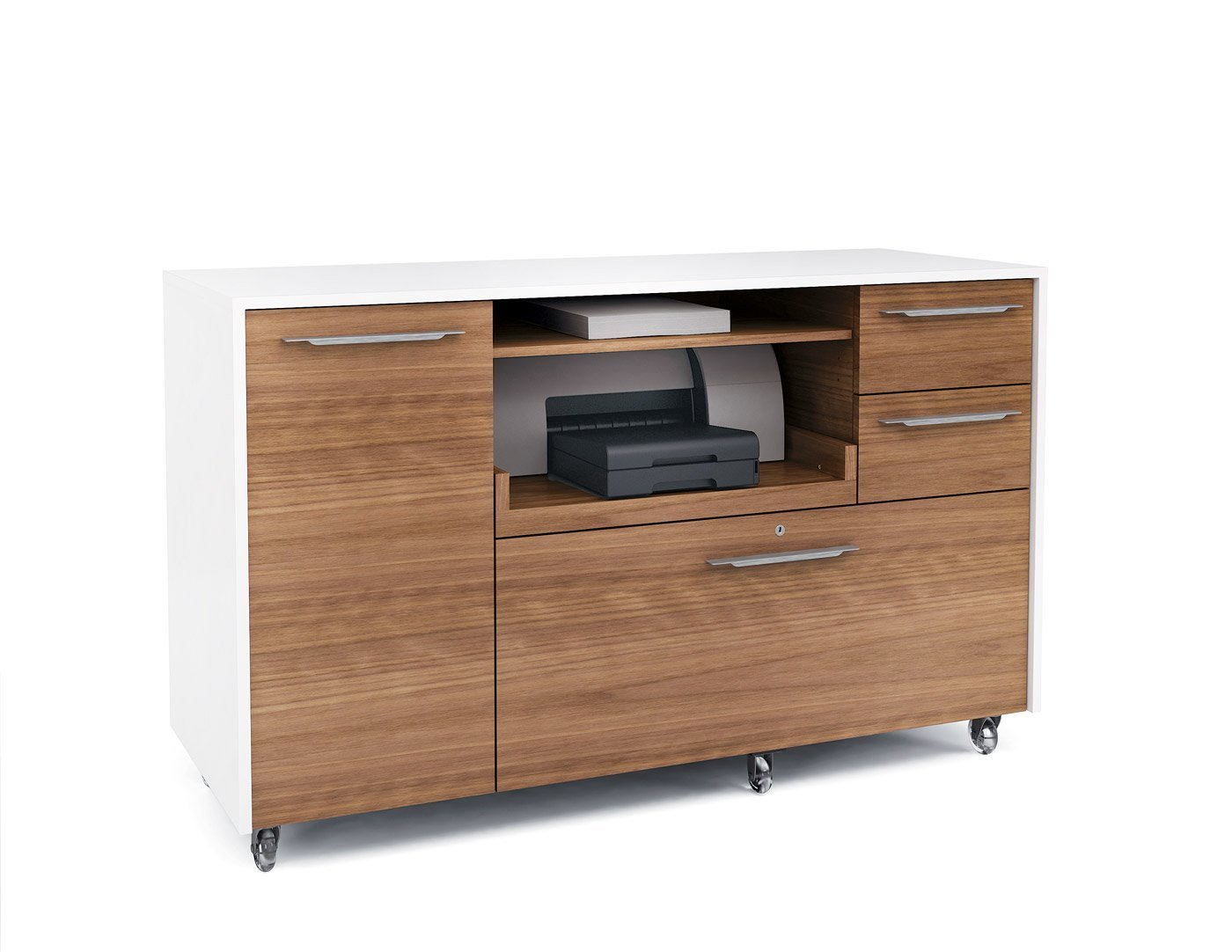 Amazon.com : BDI 6320 Series Format Mobile Credenza   Satin White/Natural  Walnut : Office Products