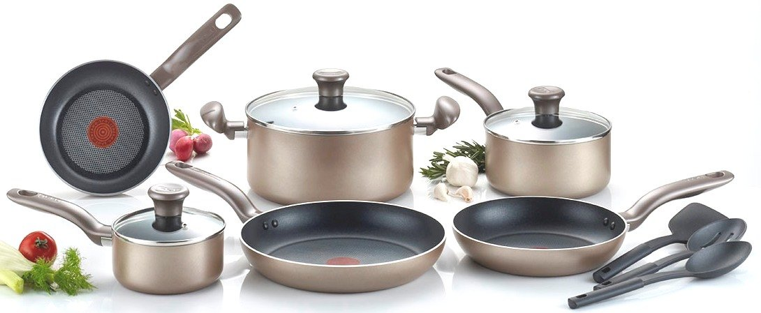 T-fal C067SC Metallics Nonstick Thermo-Spot Heat Indicator Cookware Set, 12-Piece, Bronze by T-fal (Image #1)