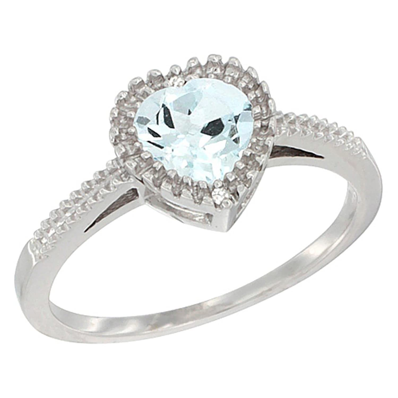 10K White Gold Natural Aquamarine Ring Heart 6×6 mm, sizes 5 – 10