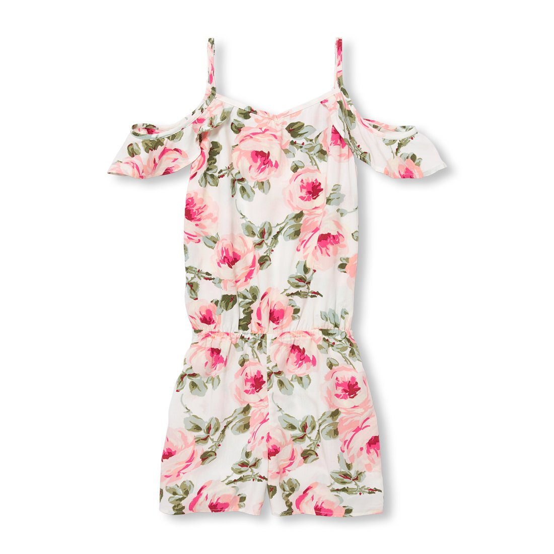 The Children's Place Big Girls' Floral Woven Romper, Bunnys Tail, XS (4)