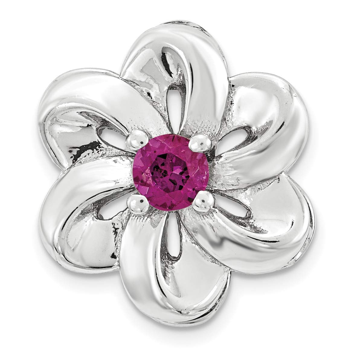 Lex /& Lu Sterling Silver Stackable Expressions Small Created Ruby Flower Chain Slide LAL8603-Prime