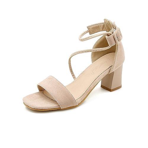 Mujer Toe Romano Con Y Gruesas Calzado es La Amazon Moda Sandalias Open Complementos Zapatos xfqRYUw