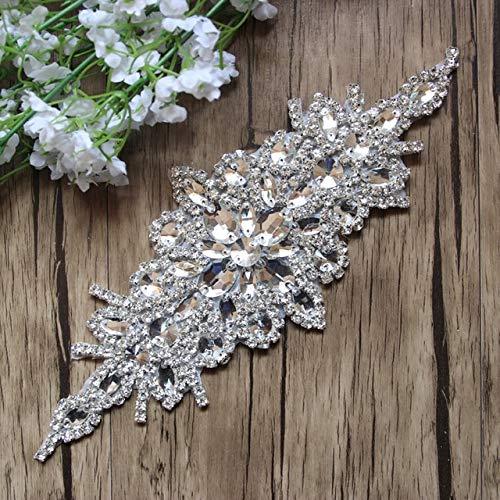 BeesClover Wholesale 5pcs/lot 9.5'' Rhinestone Applique for Wedding Gown Bridal Applique Trimming Rhinestone Patch LSAP91905 Show