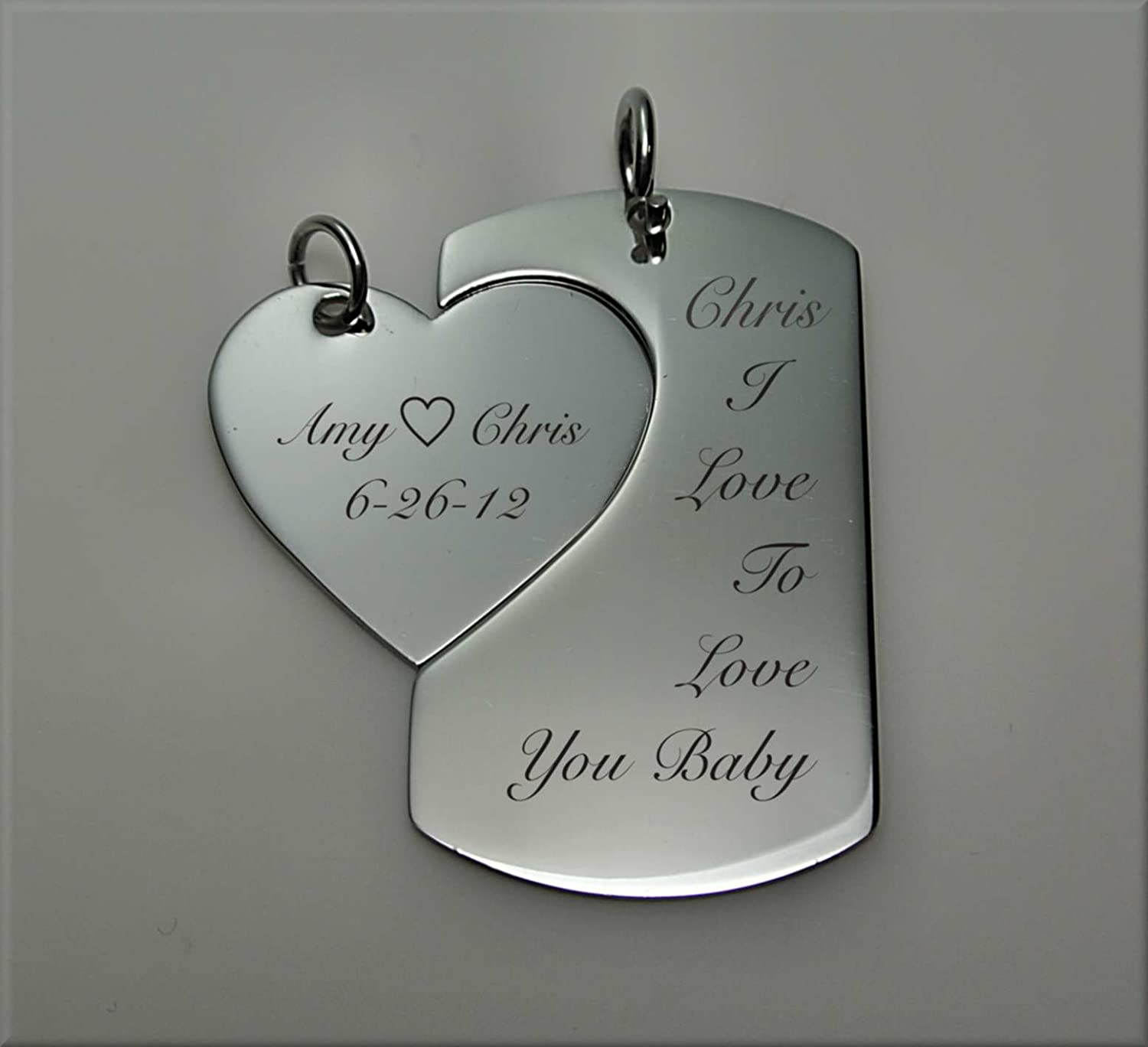 Amazon.com : Personalized Dog Tag With Heart Necklace Set : Key ...