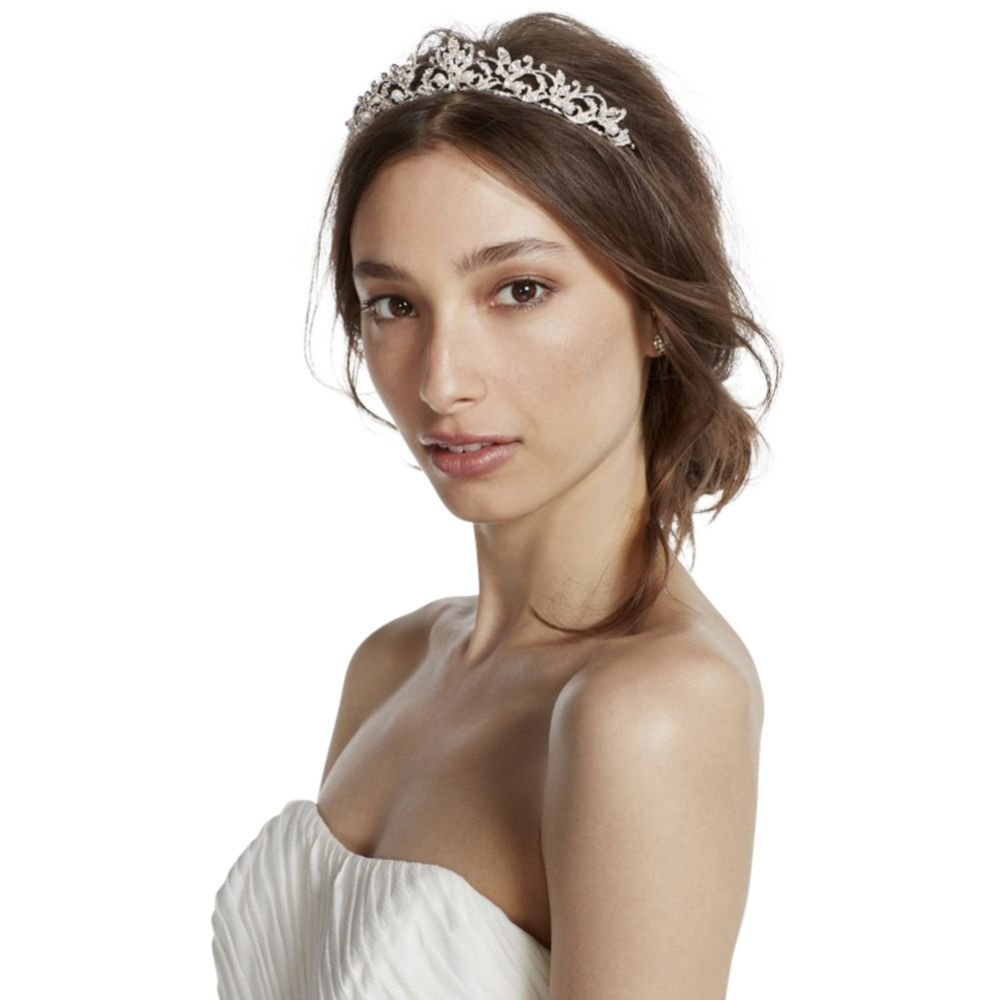 Mid Height Tiara with Pearls and Crystals Style T10B116, Silver