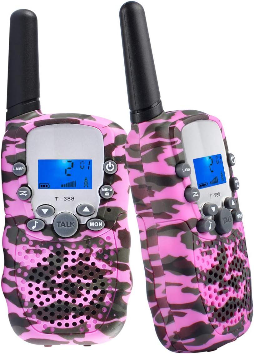 Coolzon Walkie Talkie Niños, Walky Talky Walki Talki Infantil Juguete Walkie-Talkie Bateria 8 Canales Linterna Pantalla LCD VOX, 1 Par Camuflaje Rosa