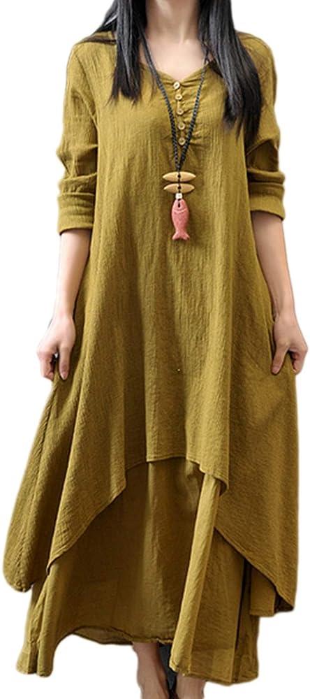 Zilcremo Mujeres Boho Vestidos Casual Algodón Lino Vintage Capas Maxi Vestido Amarillo XS: Amazon.es: Ropa y accesorios