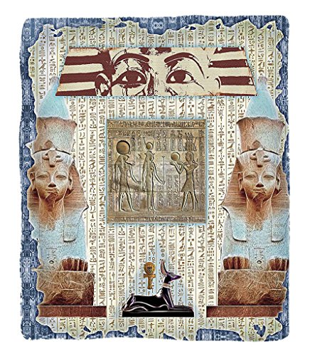 Chaoran 1 Fleece Blanket on Amazon Super Silky Soft All Season Super Plush Egypt Decor Traditional Hieroglyph Backdrop with Mummy Pyramids Bastet Collage Art Fabric Extra Taupe (Halloween Mummy Hot Dog Recipes)