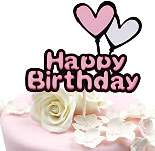"""Happy Birthday Cake Topper letters""""happy birthday""""and love star"""",Pink and black Party Decorations Birthday Party Decorations for Girls Double layer"""