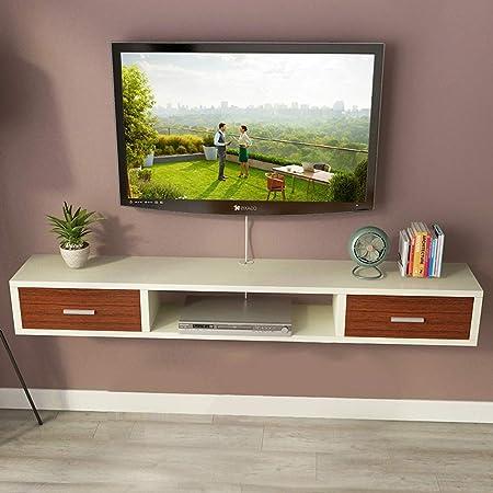 LRZS Fondo Video Cajón en la Pared Estante Flotante montado en la Pared Rack de DVD Mueble TV Estante del Router WiFi Soporte para decodificador Soporte para televisor Consola para televisor: Amazon.es: