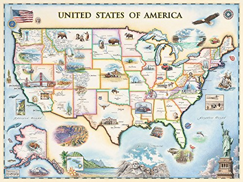 Hand Drawn Map - USA Map Wall Art Poster - Authentic Hand Drawn Maps in Old World, Antique Style - Art Deco Lithographic Print