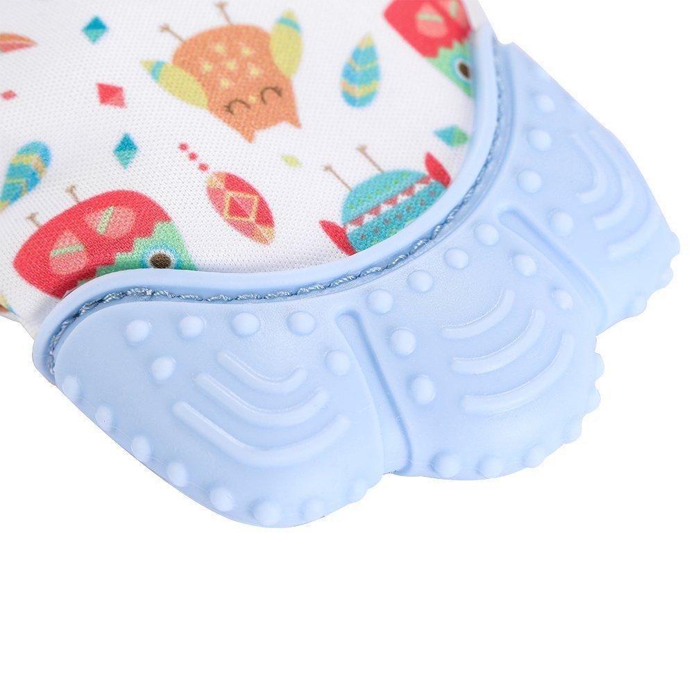 Bleu Cozy Tots Moufle mitaine de dentition en silicone