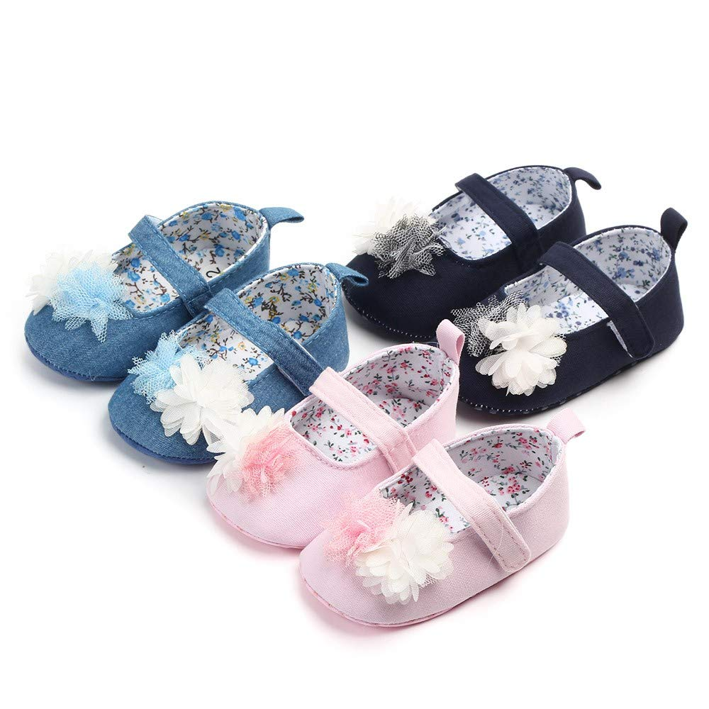 NUWFOR Newborn Baby Cute Girls Canvas Flower Single First Walker Soft Sole Shoes(Blue,0-3Months) by NUWFOR (Image #5)