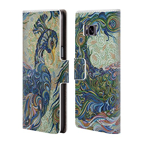 Official Erika Pochybova Peacock 2 Birds Leather Book Wallet Case Cover For Samsung Galaxy S8+ / S8 - Images Erika