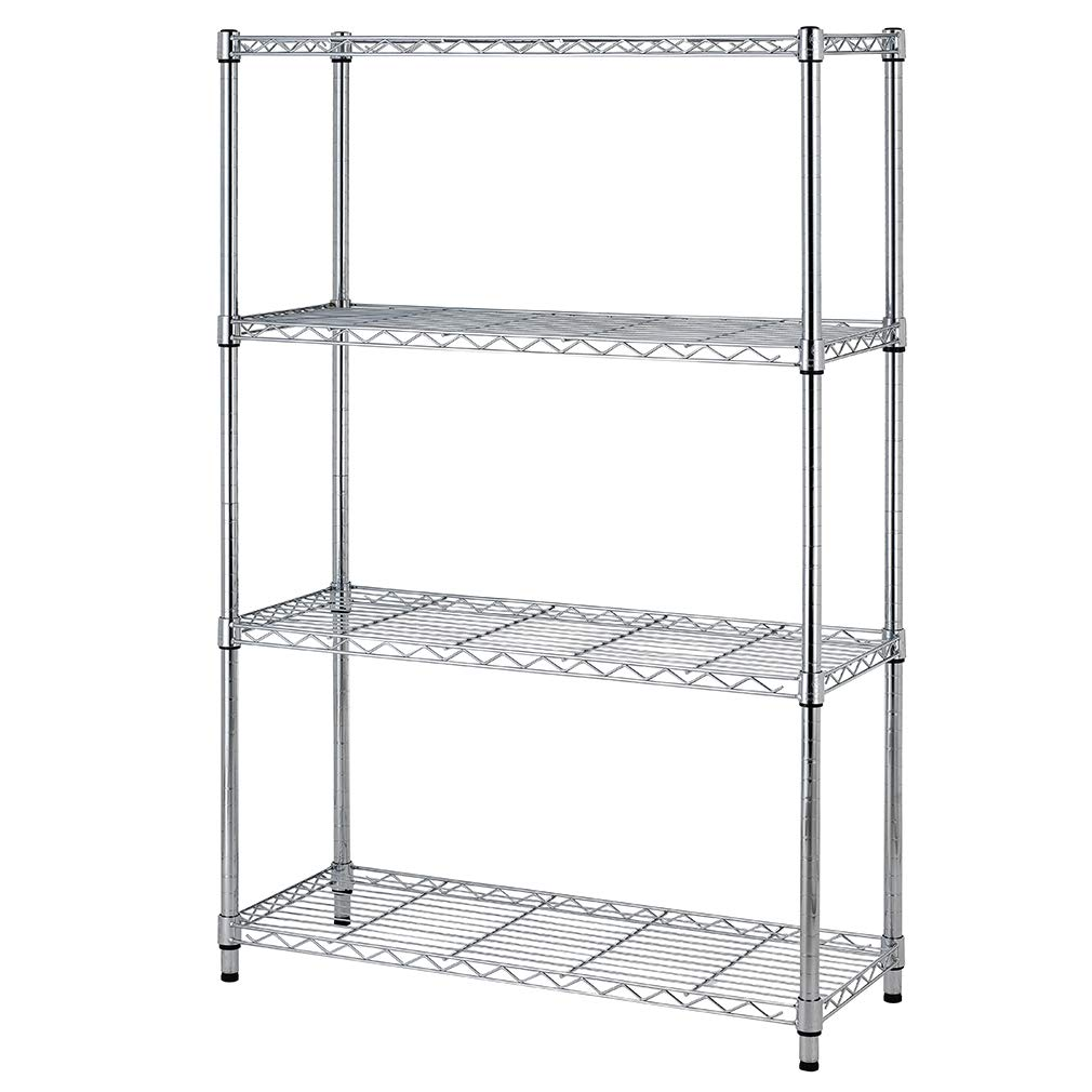 4shelf Wire Shelving Unit Garage NSF Wire Shelf Metal Large Storage Shelves Heavy Duty Height Adjustable Utility Commercial Grade Steel Layer Shelf Rack Organizer for 1000 LBS Capacity 14x36x54,Chrome
