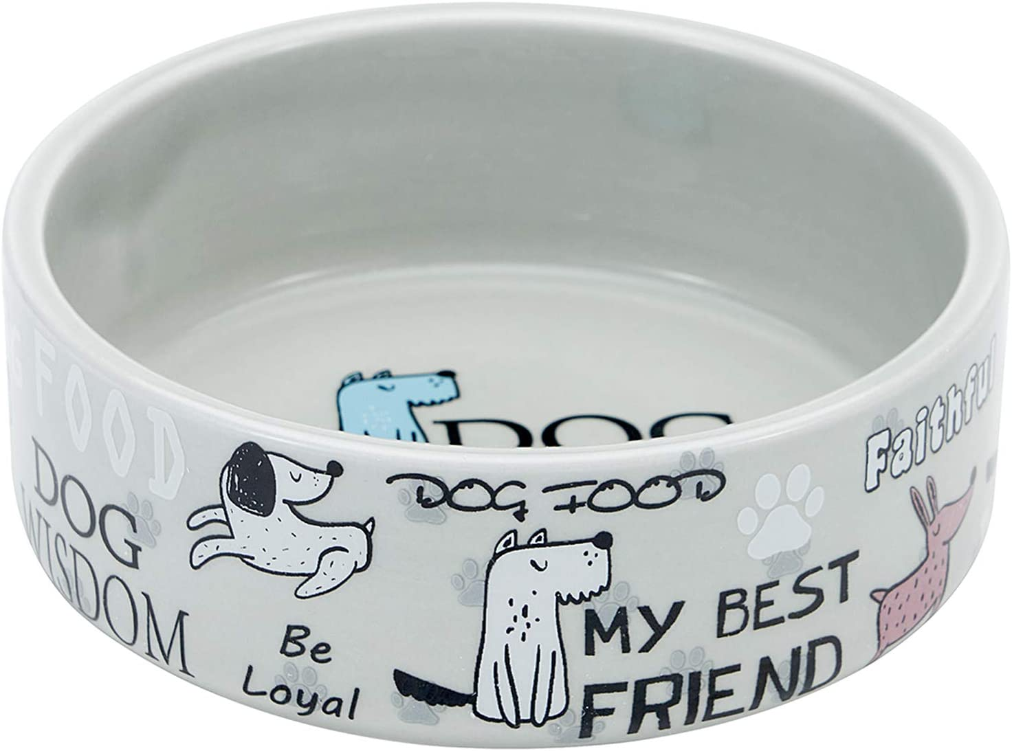 5-inch Ceramic Dog Bowl Cartoon Pattern, Cute, Chew-Proof, Dishwasher and Microwave Safe