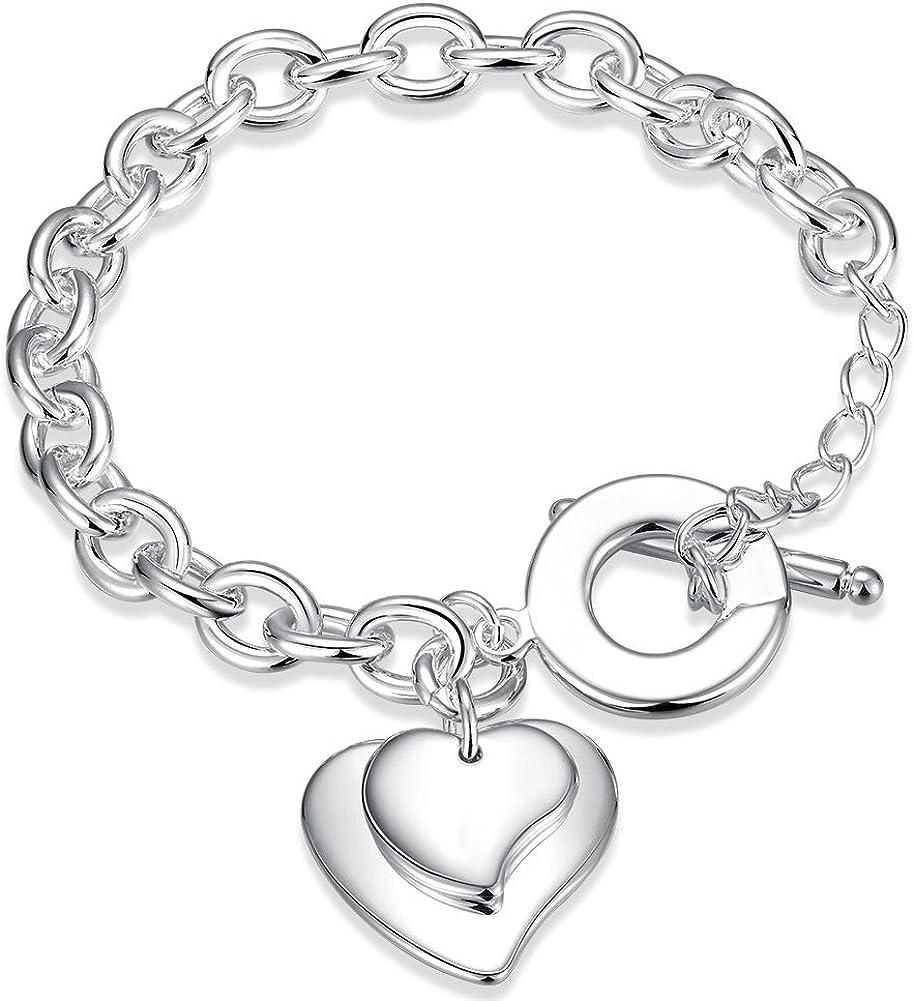 Faysting EU - Joyas para mujer, pulsera de plata con figura de corazón grande, buen regalo para Navidad / San Valentín, plata chapada: Amazon.es: Joyería