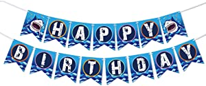 WERNNSAI Shark Party Supplies - Happy Birthday Banner Bunting Garland Pennant for Boys Kids Blue Ocean Theme Pool Party Decorations