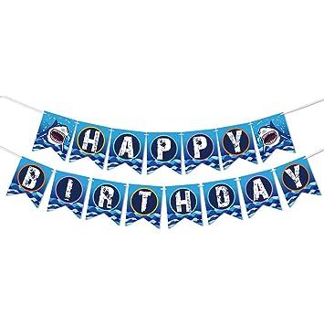 WERNNSAI Shark Suministros para la Fiesta - Feliz cumpleaños ...