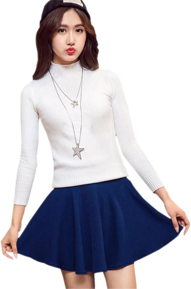 XFentech Transpirable falda plisada de cintura elástica color ...