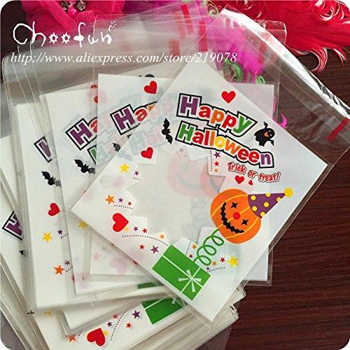 Saasiiyo 100pcs/lot Happy Halloween Pumpkin Pattern Gift And Candy Packaging Bag Self Adhesive Seal Cookies Bag (Pumpkin Patterns Printable)