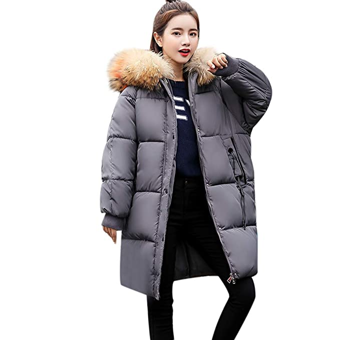 8bfcd89066e7a Challyhope Women Thicker Winter Slim Warm Lammy Drawstring Down Jacket Faux  Fur Trim Hooded Puffer Coat