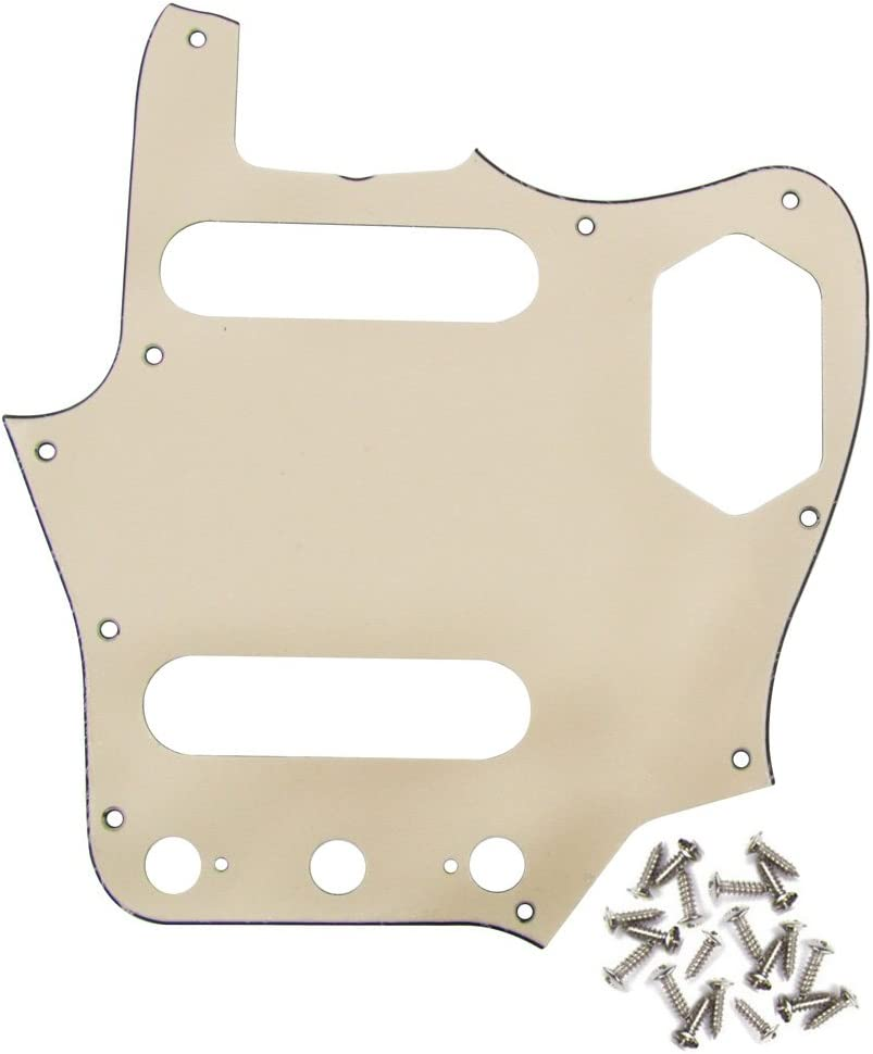 IKN 3Ply Cream Bass Pickguard Guitar Scratch Plate with Screws Fit American Standard Vintage Style Jaguar Bass Pickguard Replacement