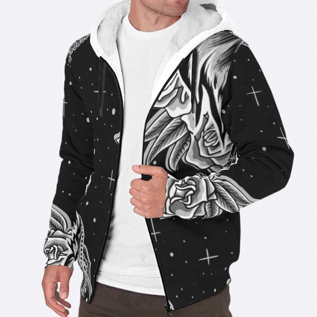QXGIAO Males Zipper Jackets Hooded Mandala Pattern Animal Jacket Coats