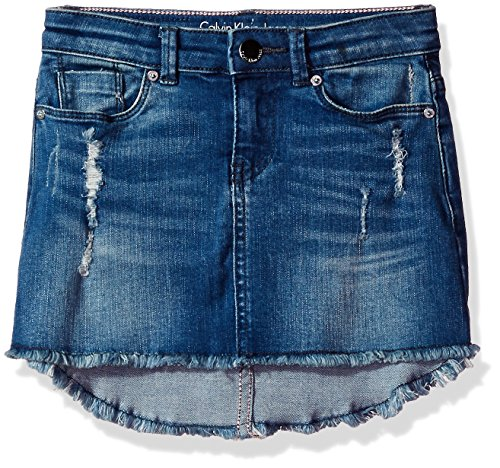 Calvin Klein Little Girls' Denim Hi-Low Skirt, Dark Blue, 6 Blue Kids Jeans